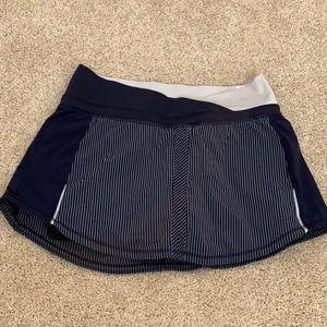 Navy and white Lululemon tennis skirt